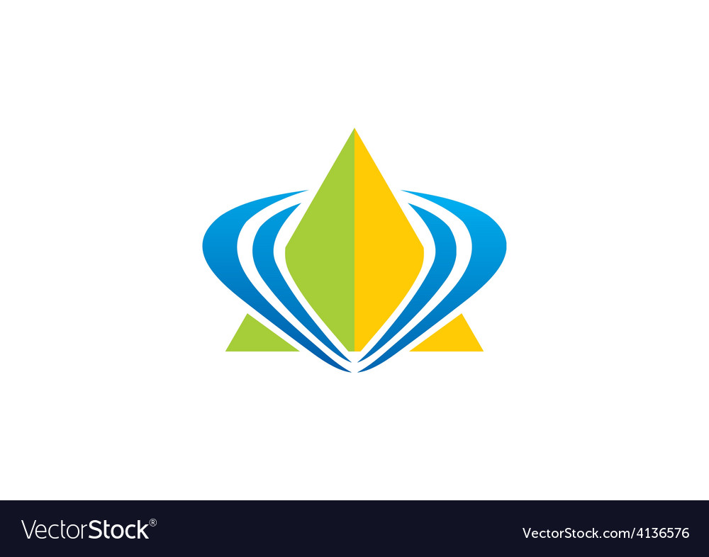 Pyramid triangle loop abstract logo vector image