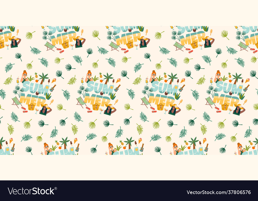 Seamless pattern with women in swimsuit