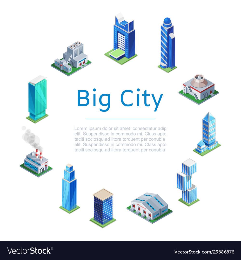 Set 3d isometric skyscrapers big city houses