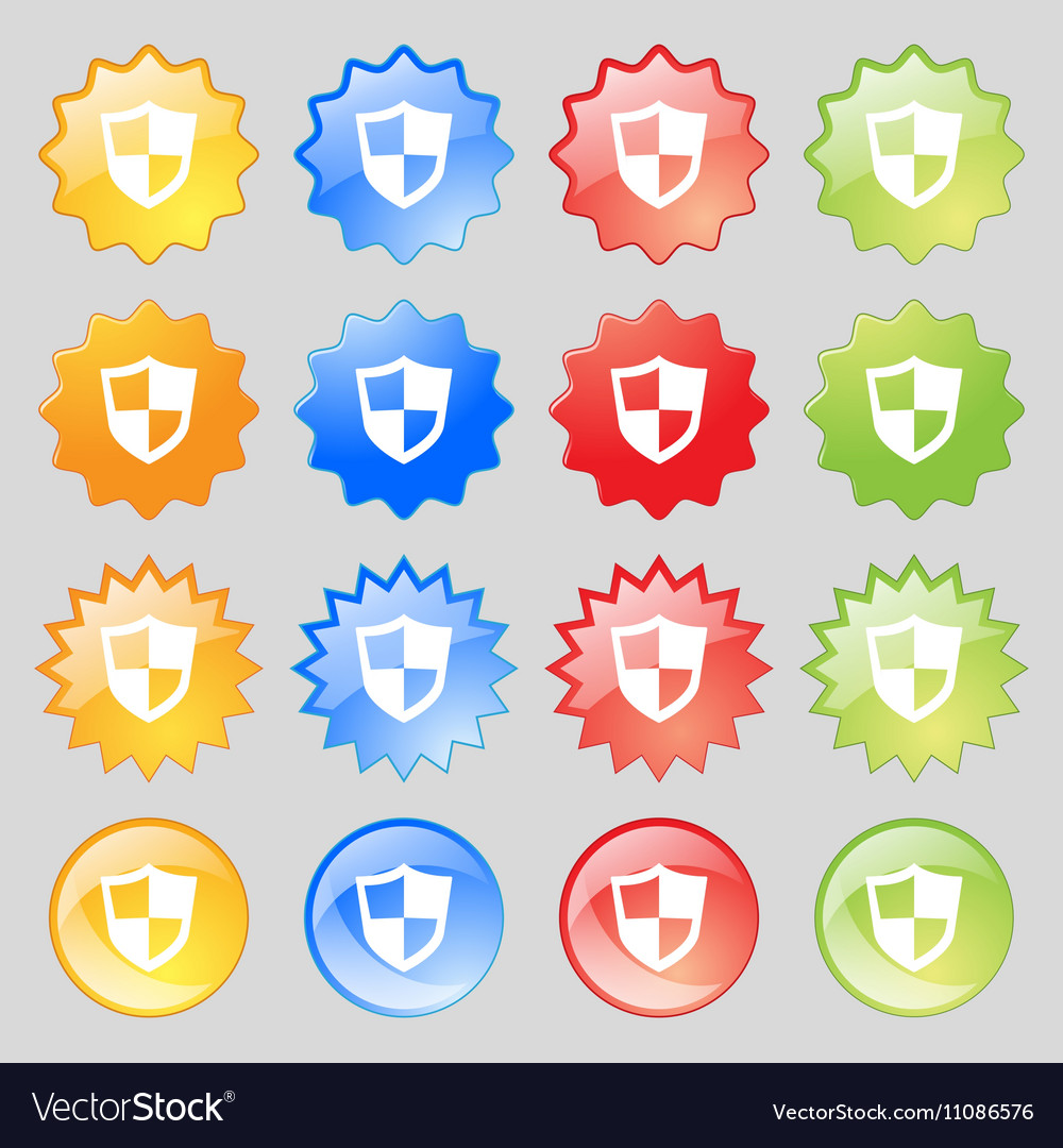 Shield icon sign Big set of 16 colorful modern vector image