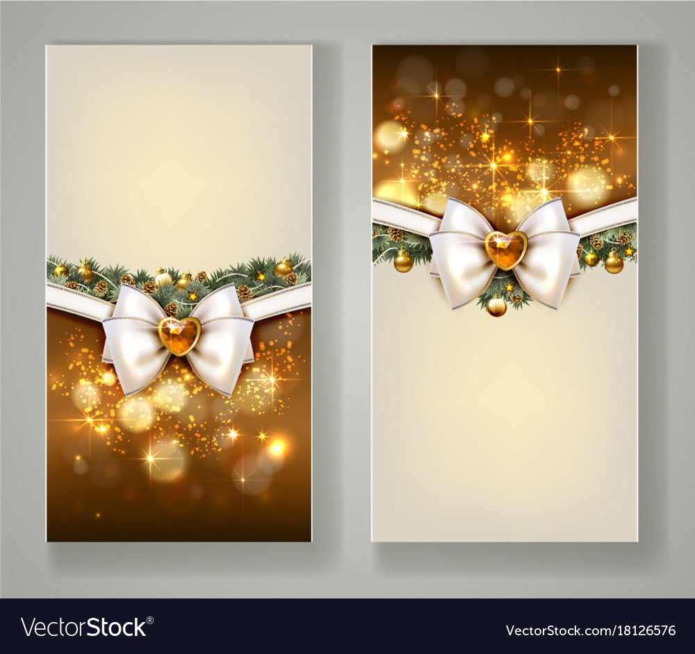 Two elegant christmas greeting cards with bow and vector image m4hsunfo