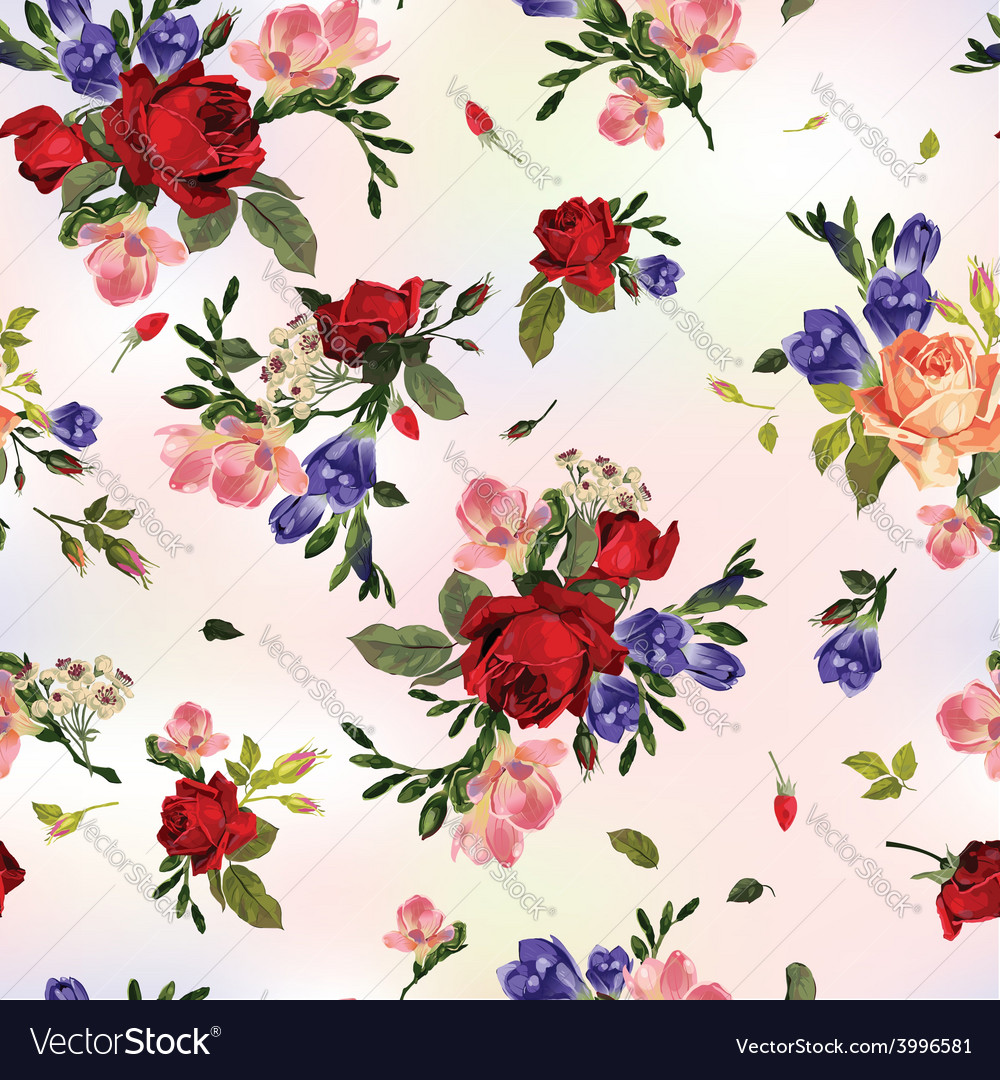 Abstract seamless floral pattern with red roses