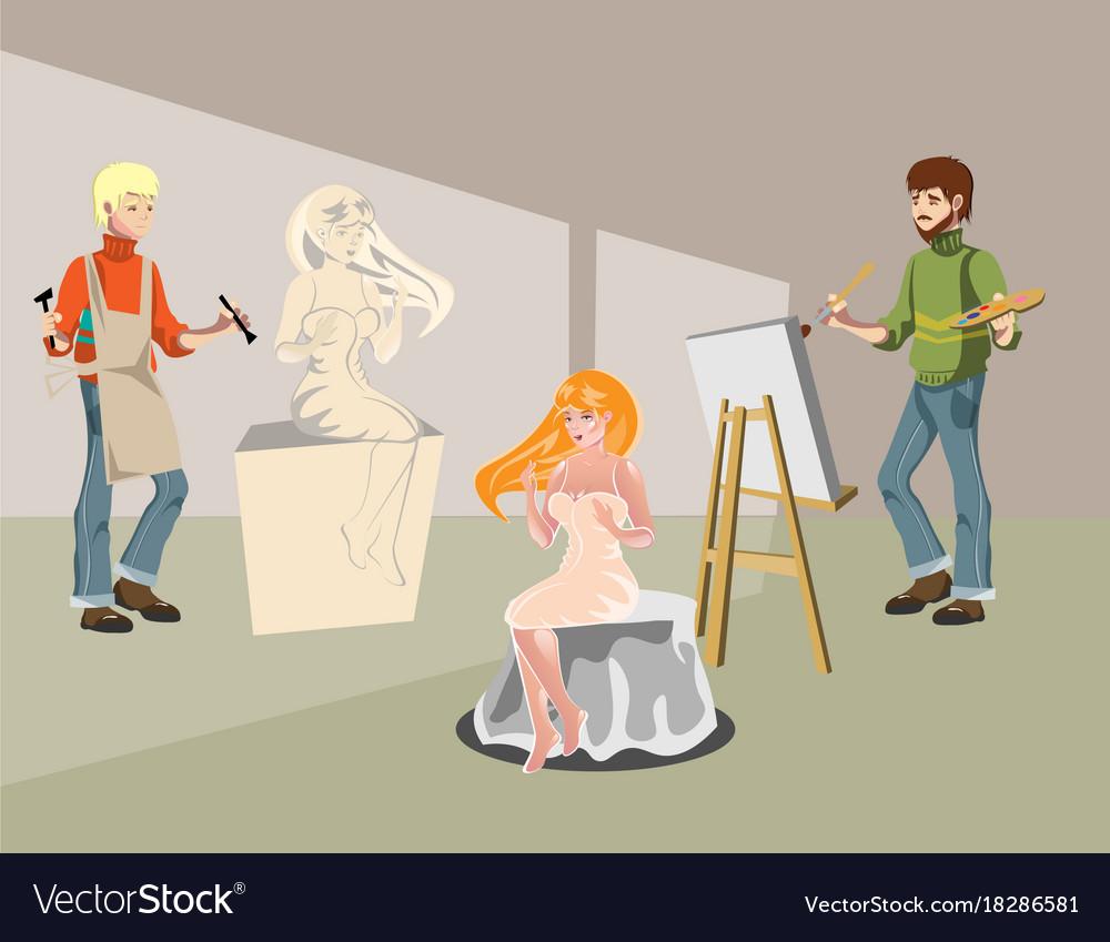 Cartoon sculptor and painting artist