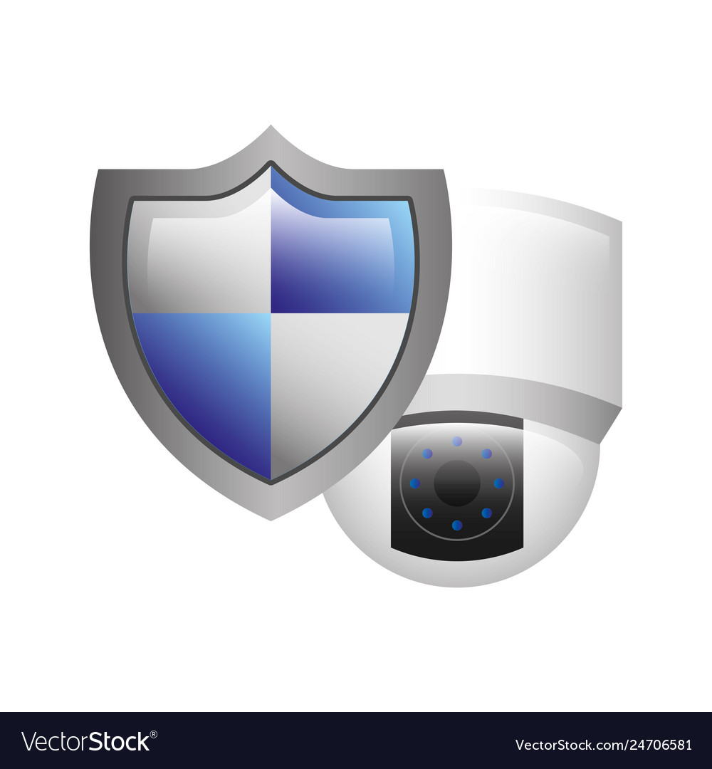 Cctv camera with shield isolated icon
