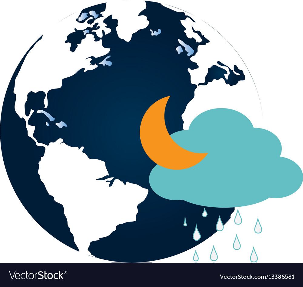 Colorful earth world map with cloud and half moon vector image