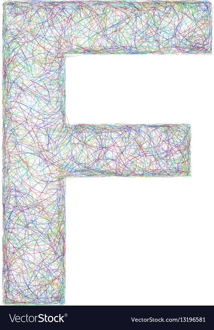 Colorful sketch font design - letter F vector image