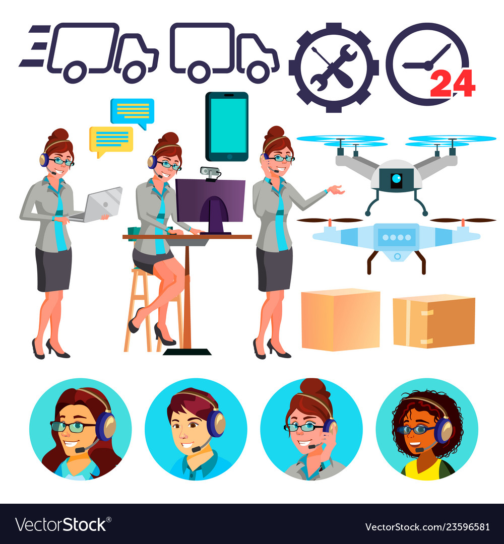 Delivery service icons drone cardboard