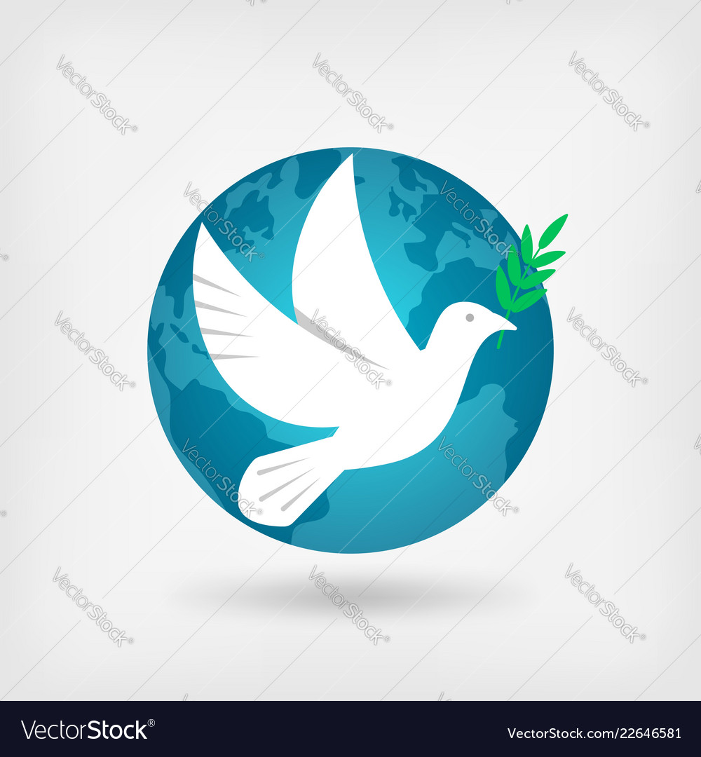 Dove with olive branch and globe