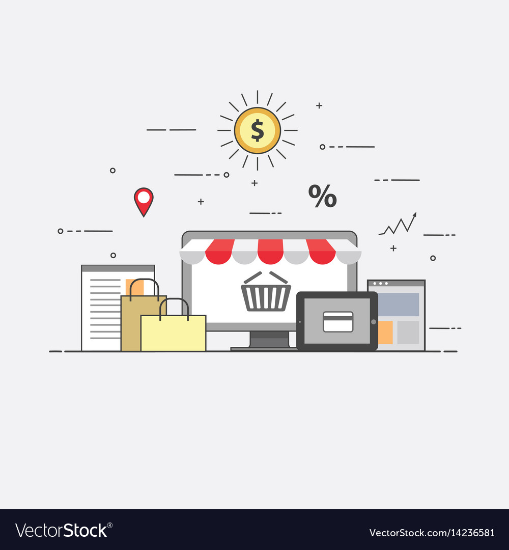 Flat design banner of e-commerce and e-shopping