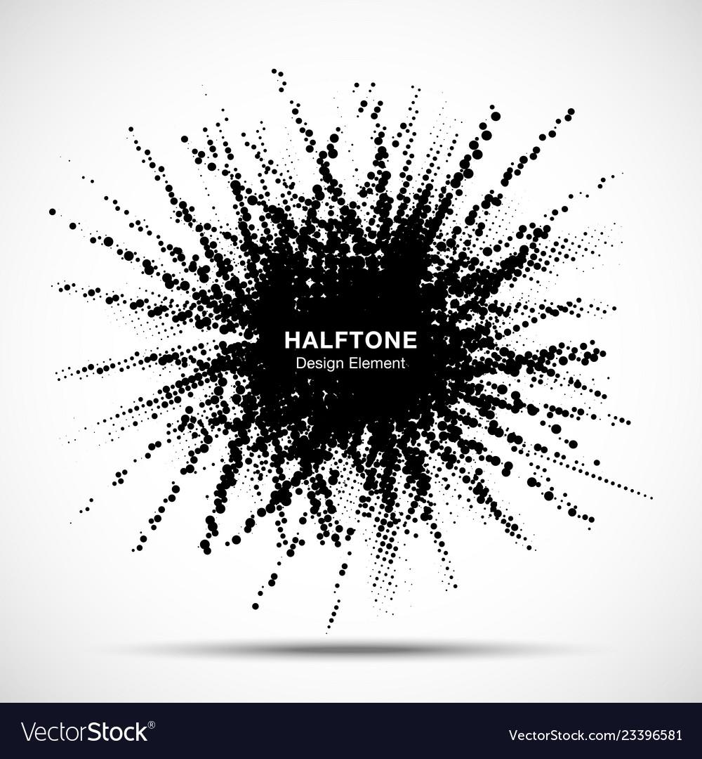 Halftone star frame grunge spot halftone circle