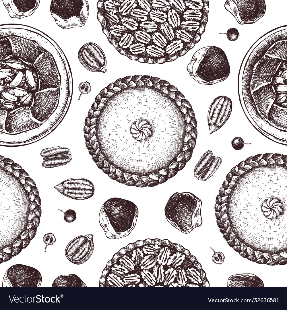 Hand sketched desserts seamless pattern