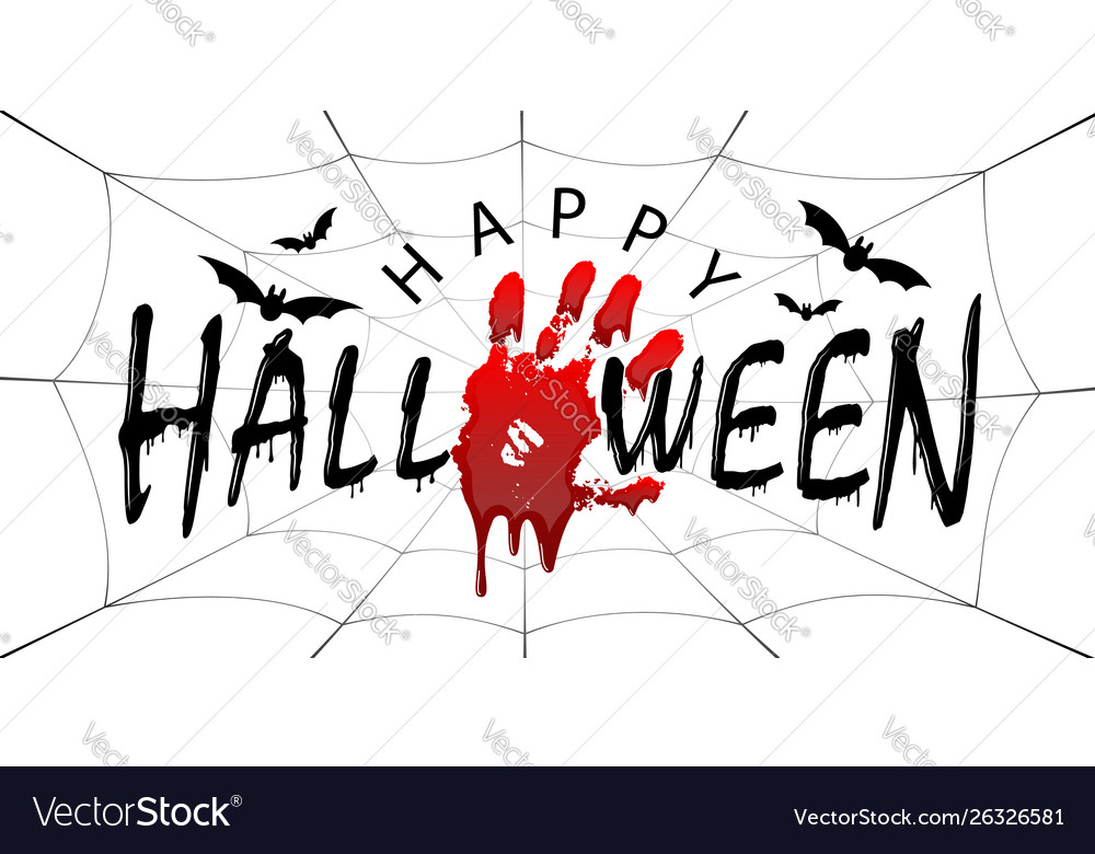 Happy halloween card black scary design isolated vector