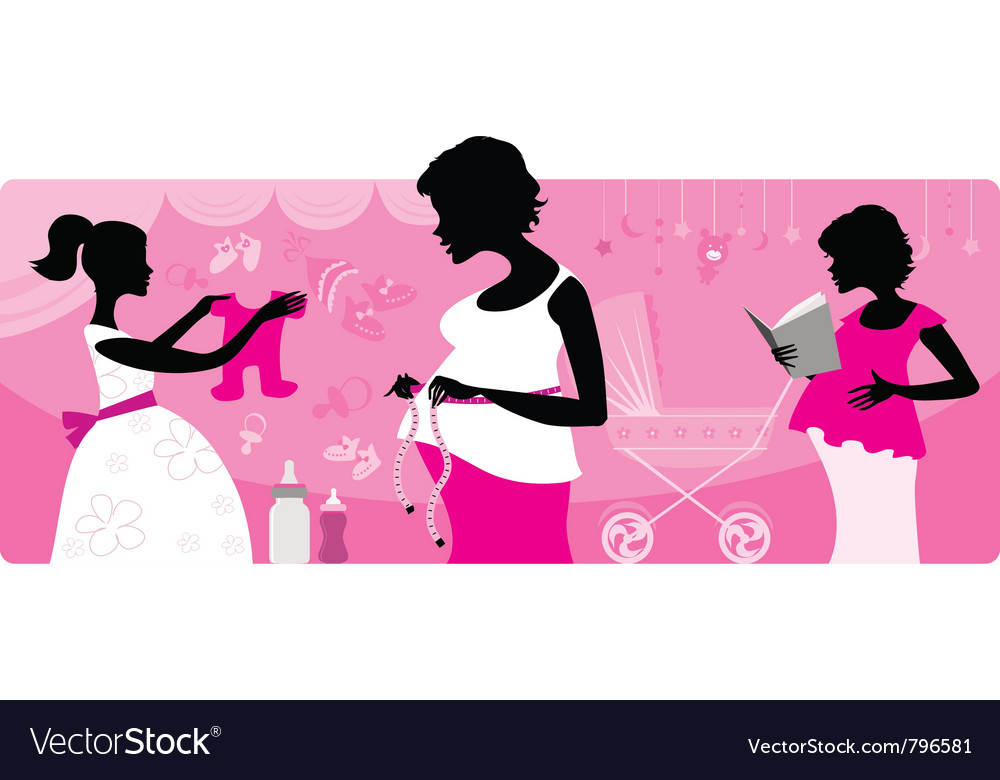 Pregnant women silhouttes vector image