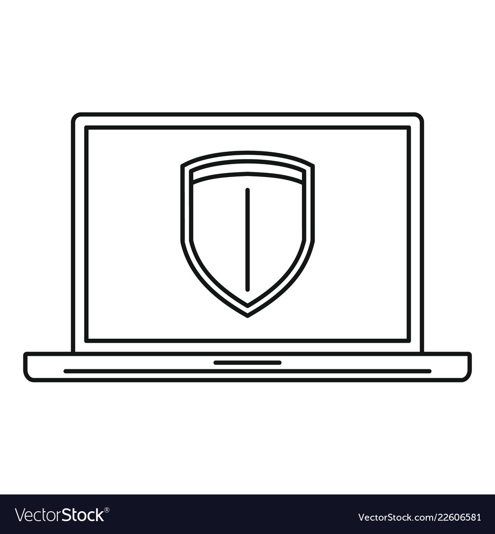 Secured laptop icon outline style