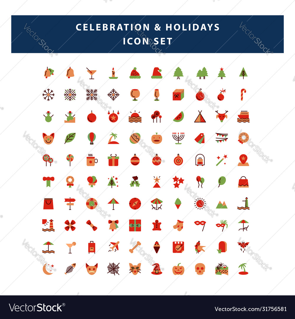 Set celebration and holidays icon with flat