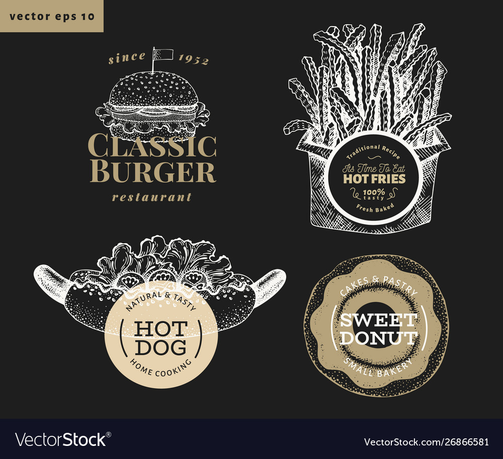 Set four street food logo templates hand drawn