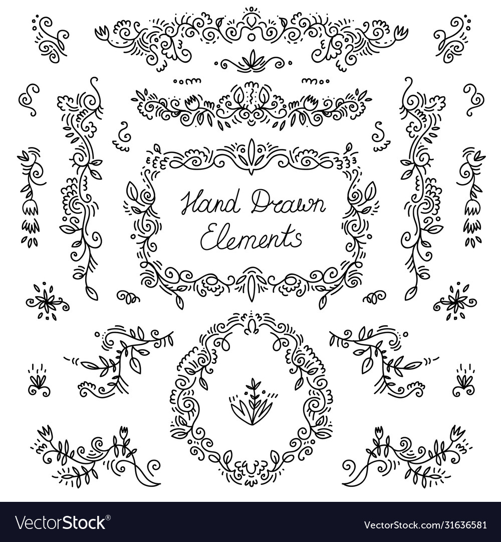 Set hand drawn dividers floral decor