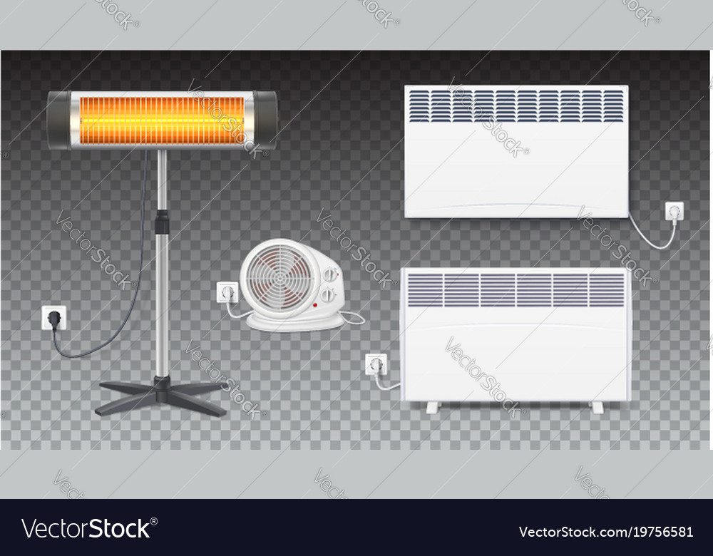Set icons of heaters household appliances on
