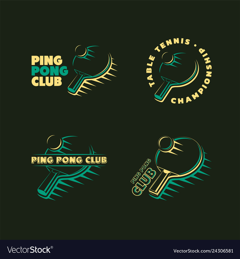 Set of ping pong club logos labels and badges