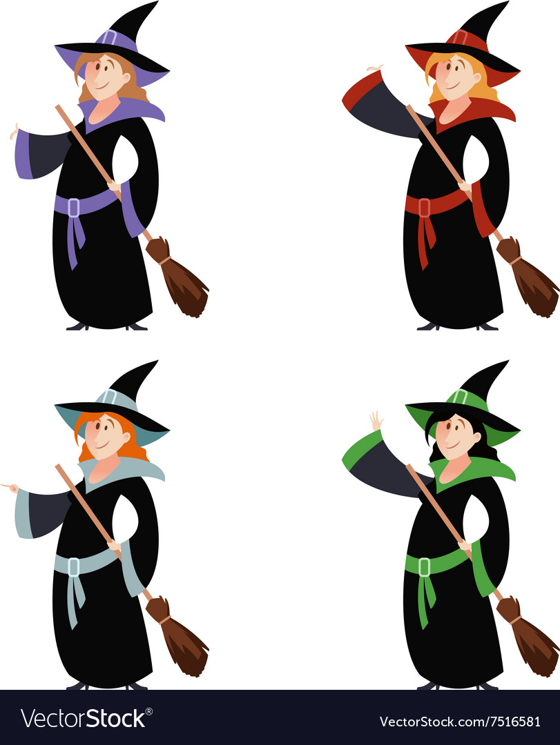 Set of witch women