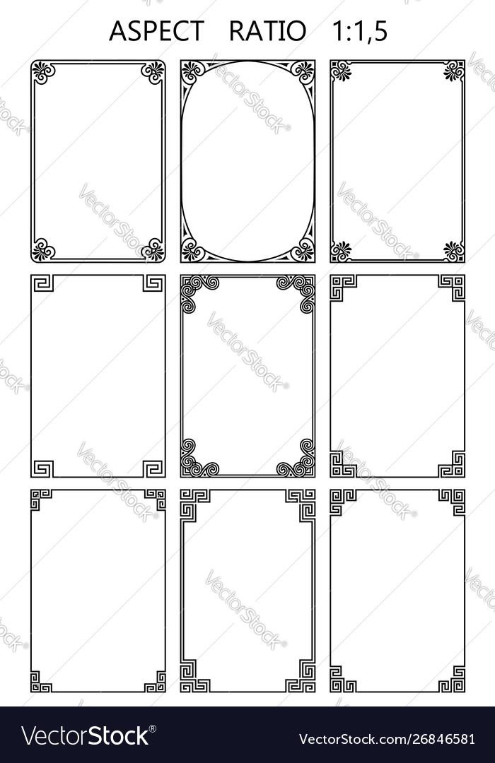 Set rectangular frames in traditional greek