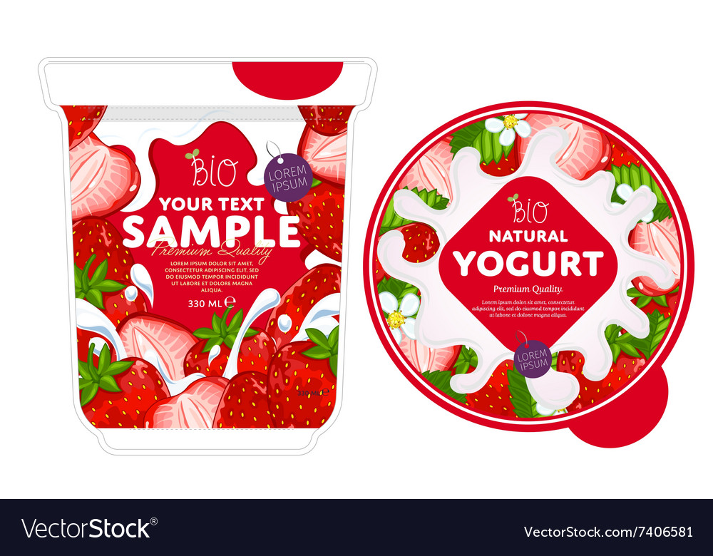 strawberry yogurt packaging design template vector image