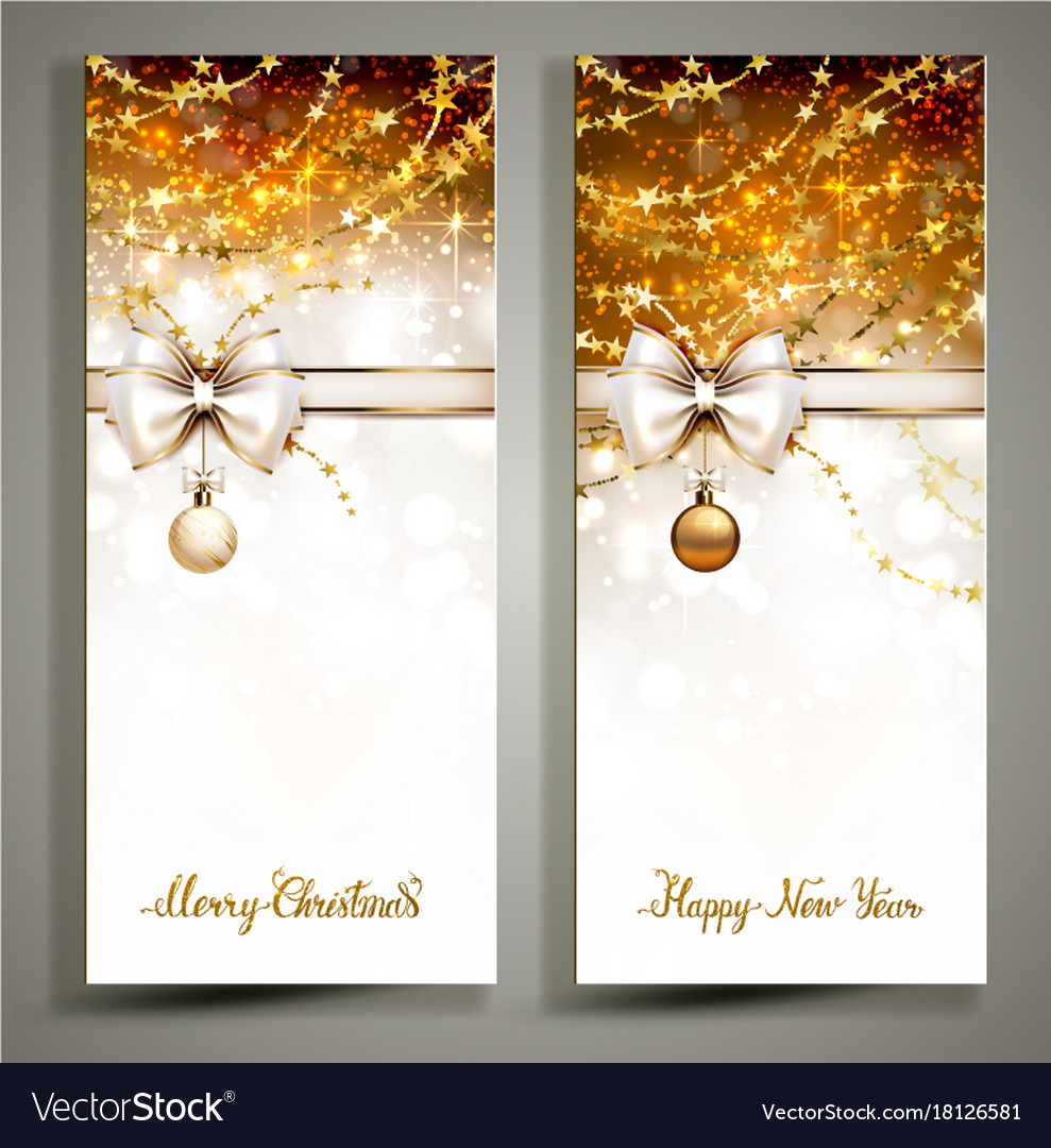 Two gold christmas greeting cards with bow Vector Image