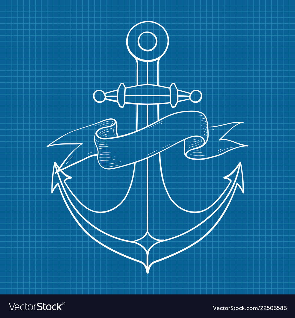 Anchor with ribbon banner outline drawing hand
