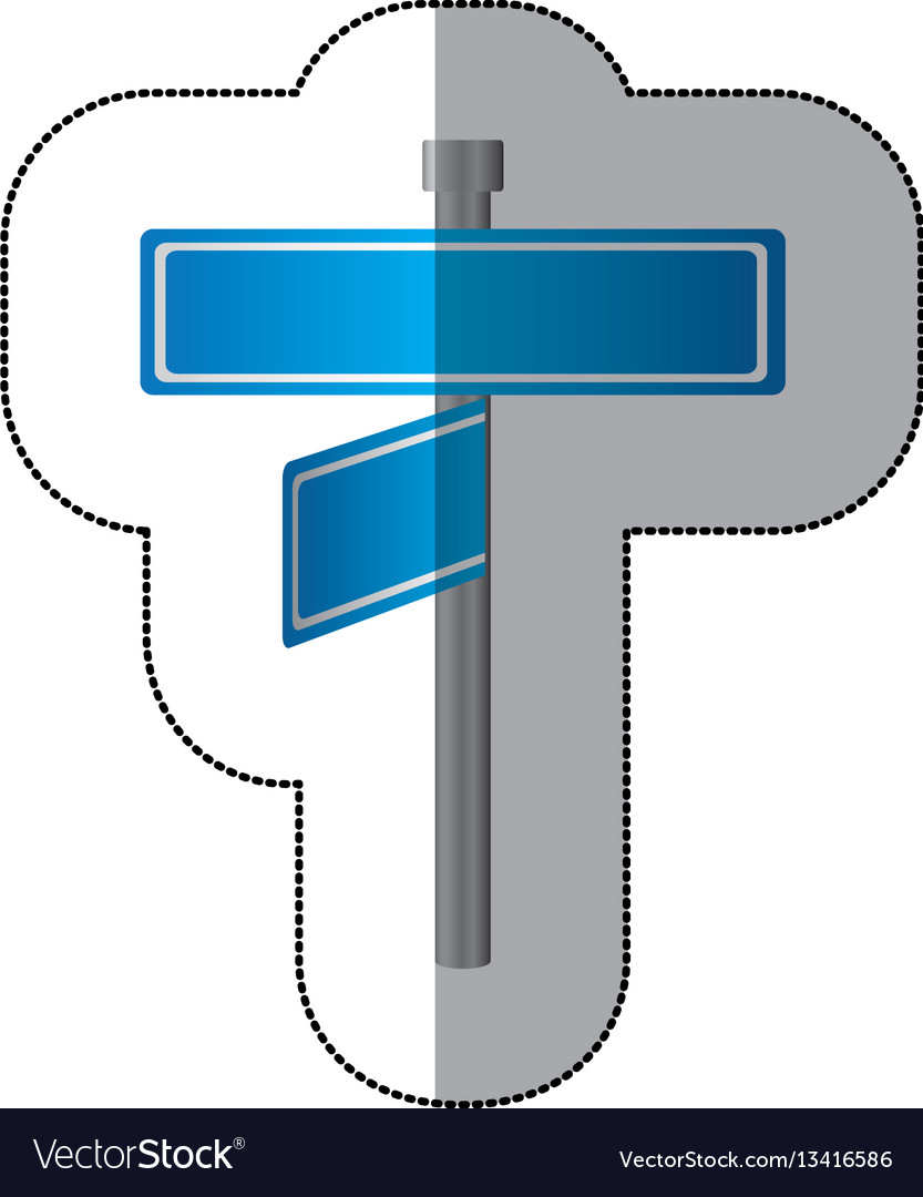 Blue metal sign boards with two directions icon