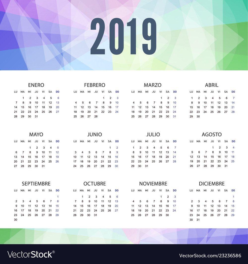 Calendar 2019 in spanish in modern style week