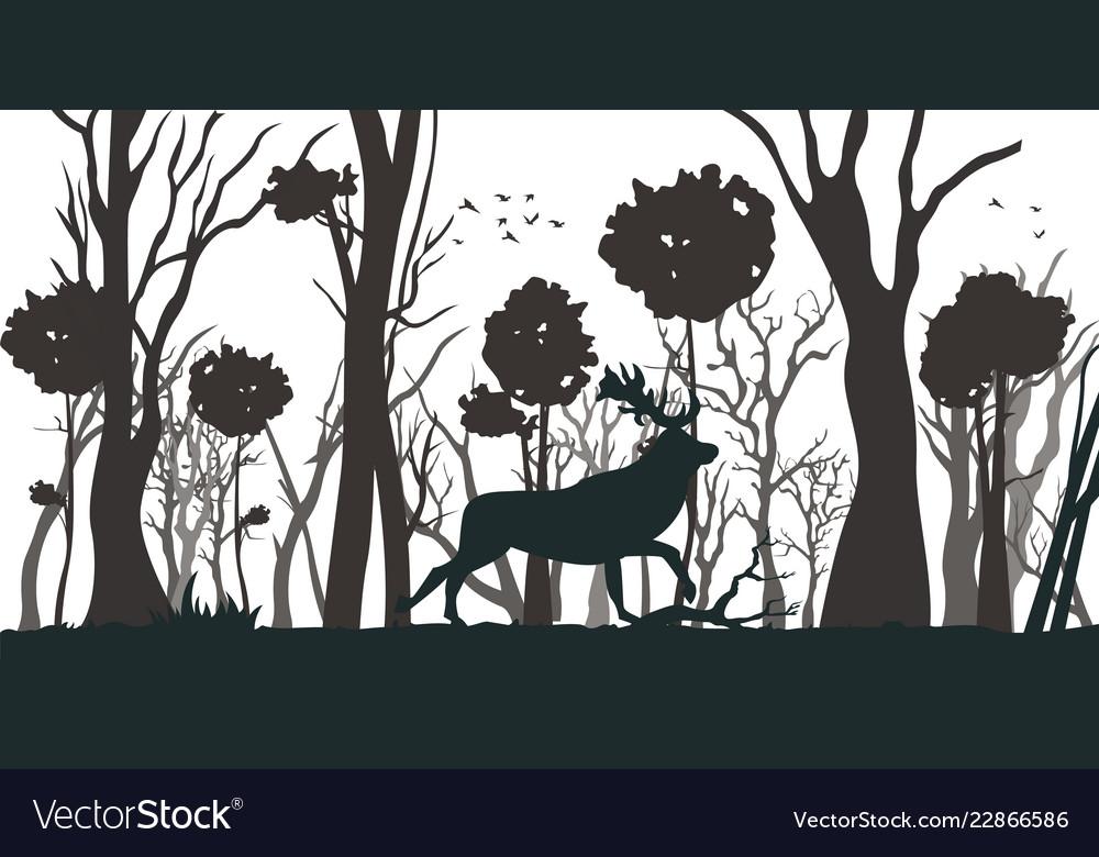 Cartoon silhouette deer in forest