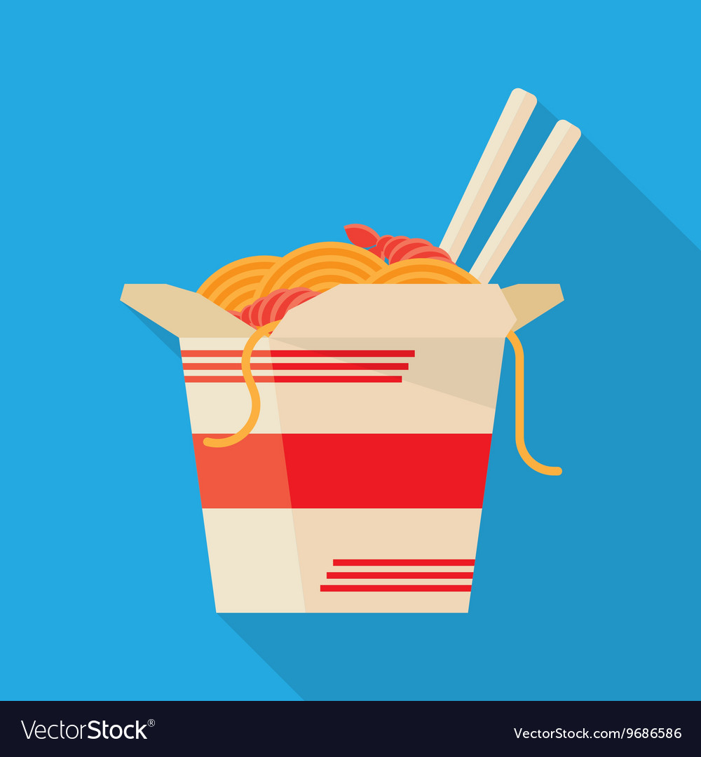 Chinese Food Take Out Box Cartoon