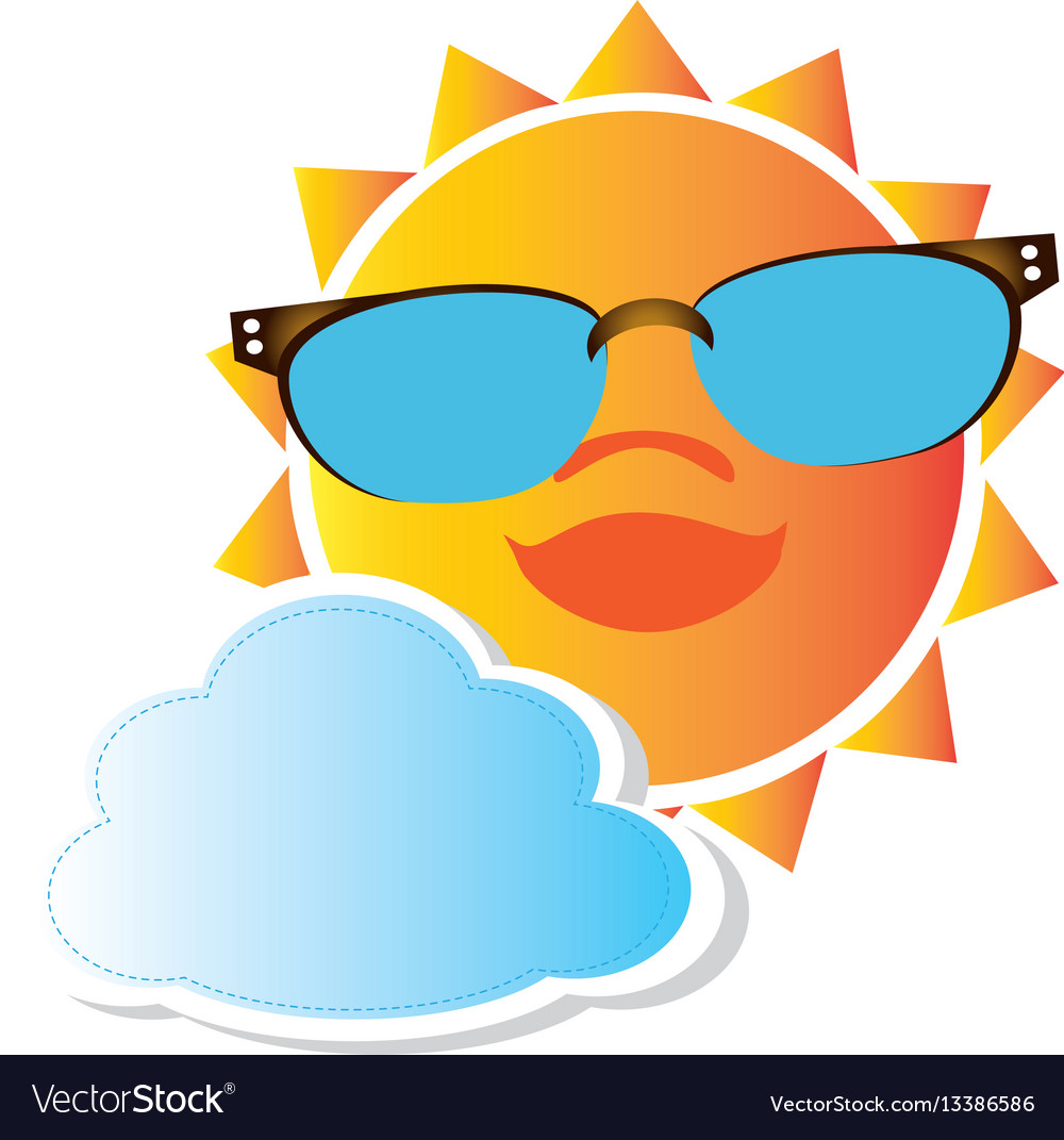 Colorful cartoon sun with glasses and cloud