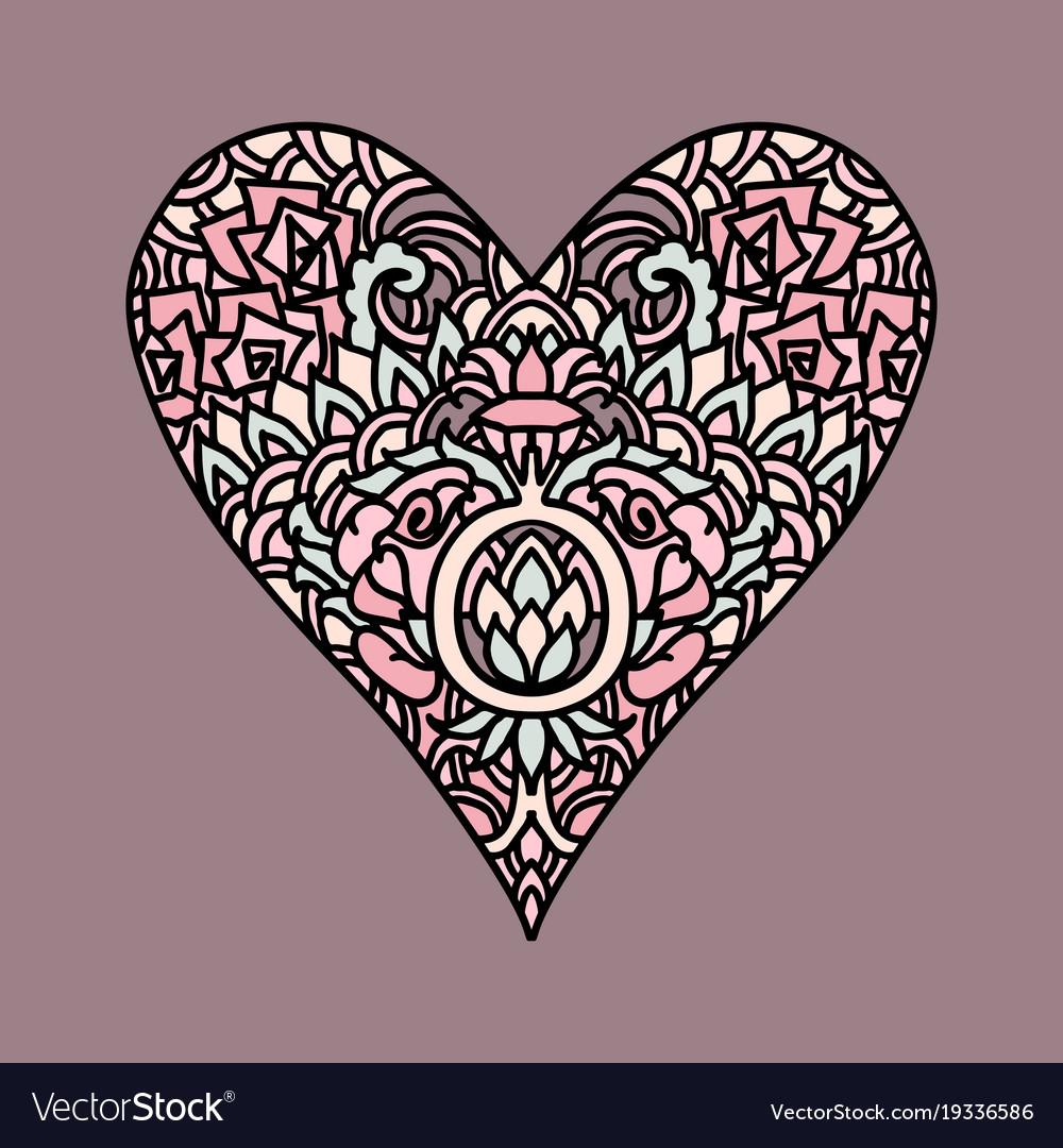 handdrawn zentangle heart mandala style design vector image