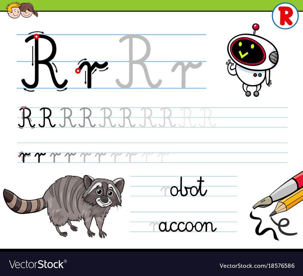 How To Write Letter R Worksheet For Kids Vector Image