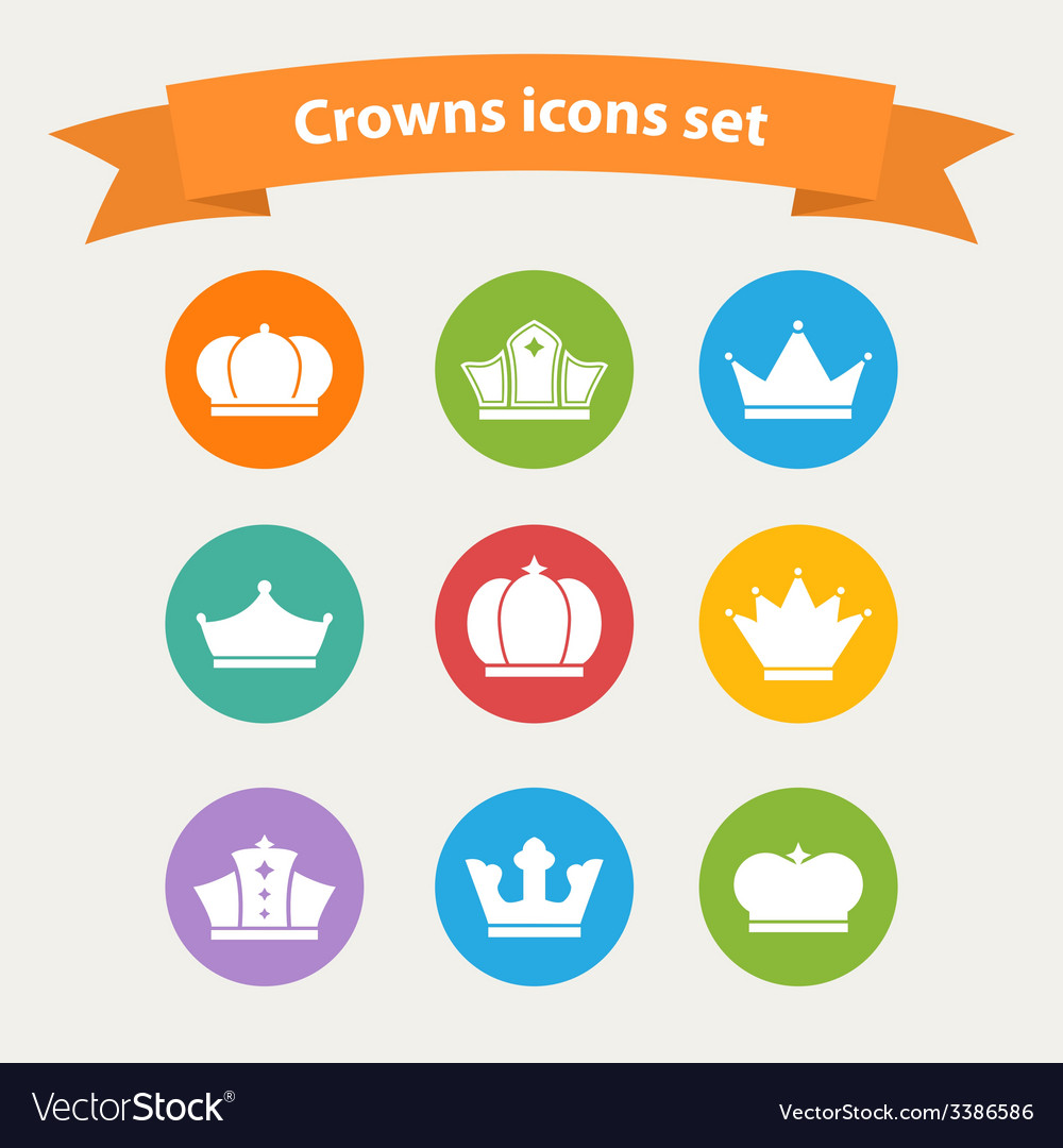 Icons set of different white crowns shapessigns vector image