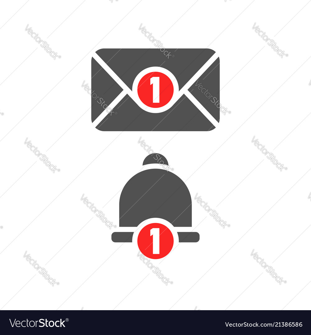Inbox new message and notification bell icon grey