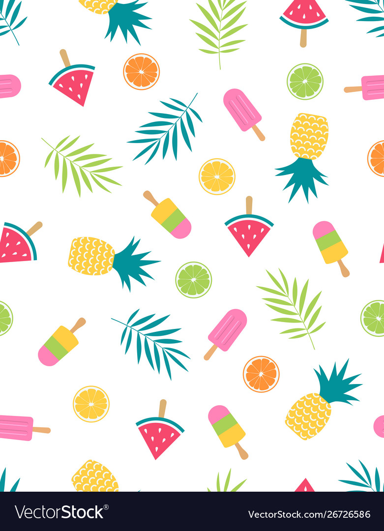 Seamless fruit pattern with watermelon