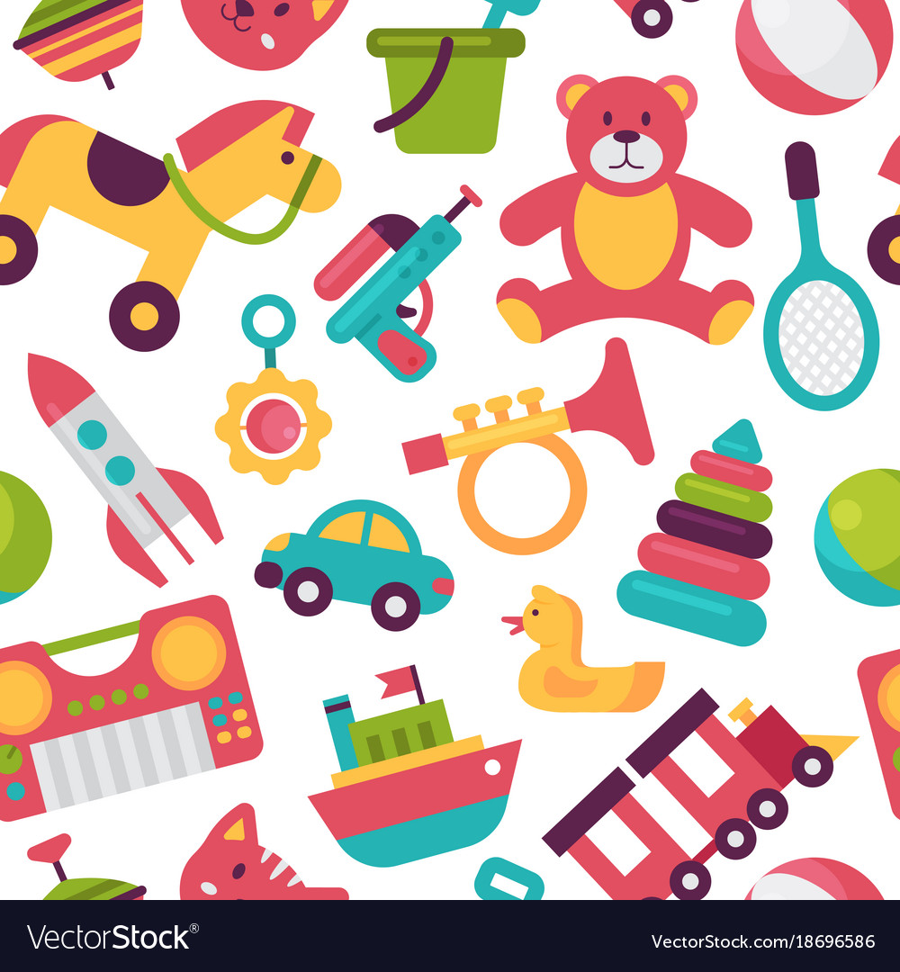 Seamless Pattern Background Kid Toys Cartoon Play Vector Image
