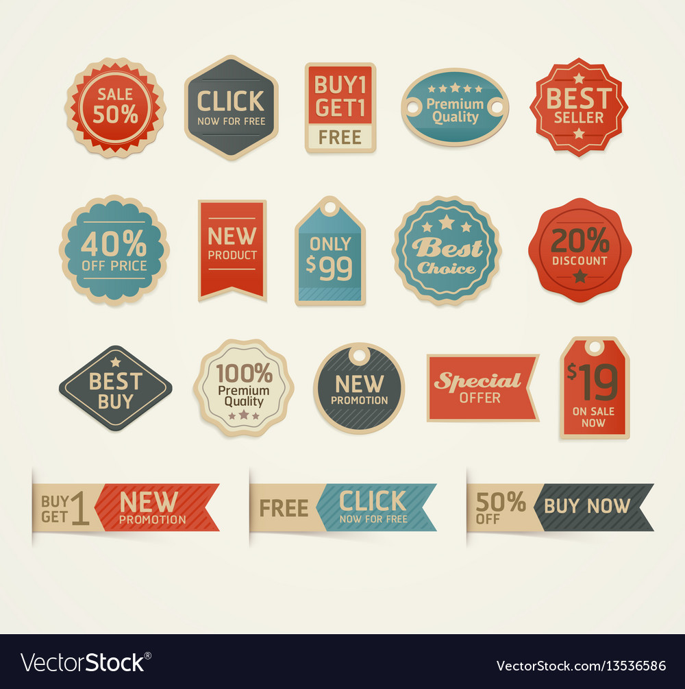 Set of retro vintage badges and labels design vector image