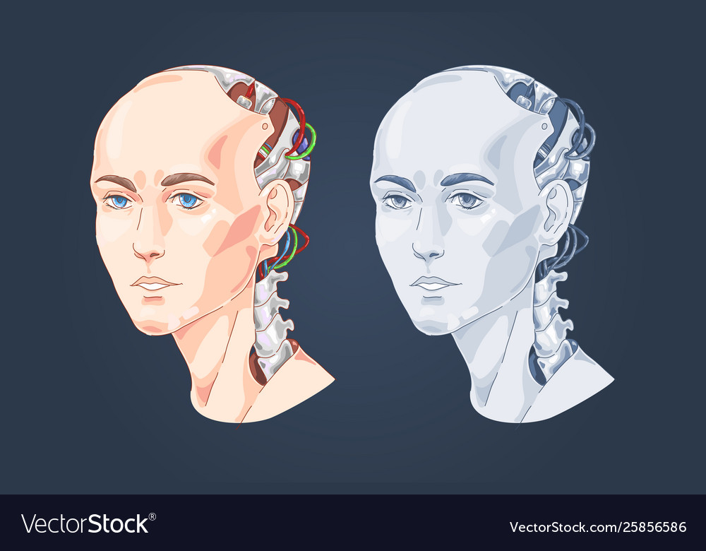 Smart robot with woman face human head shaped