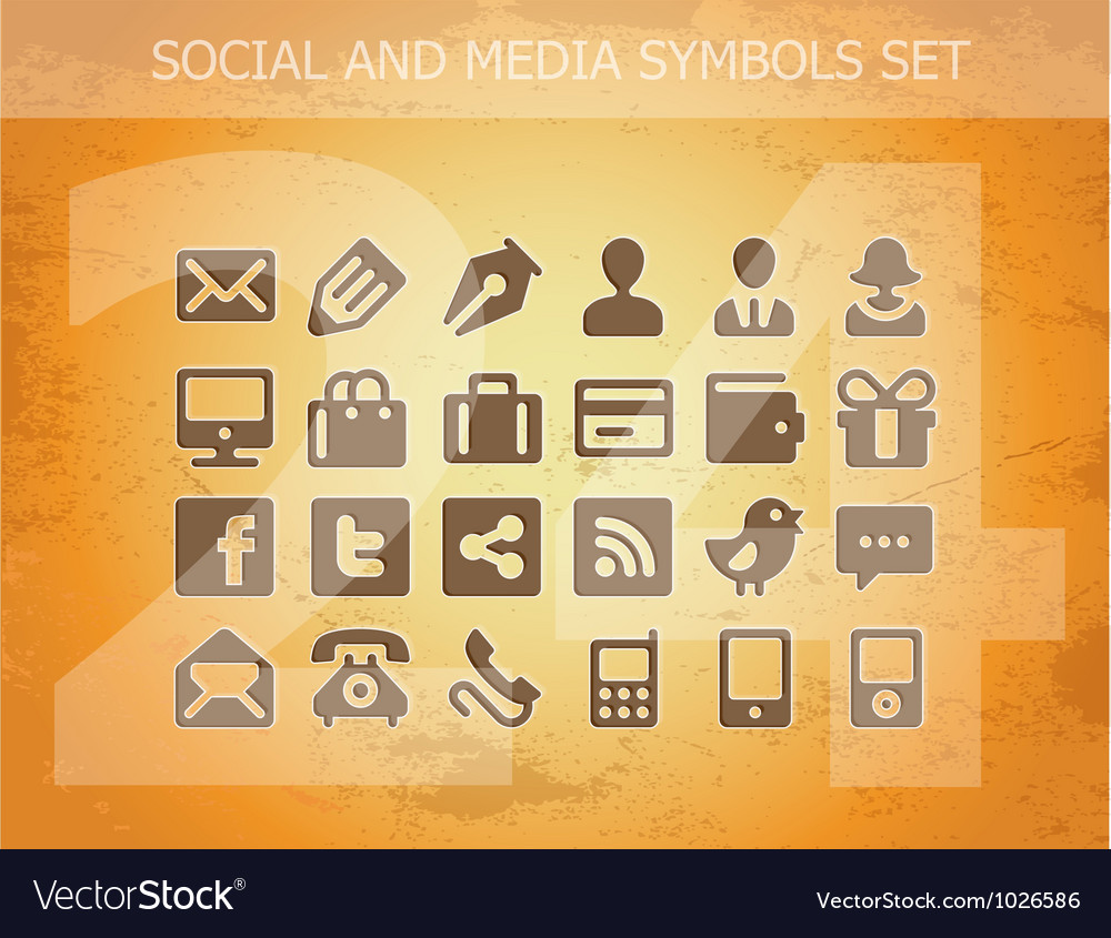Social and media pictograms set isolated