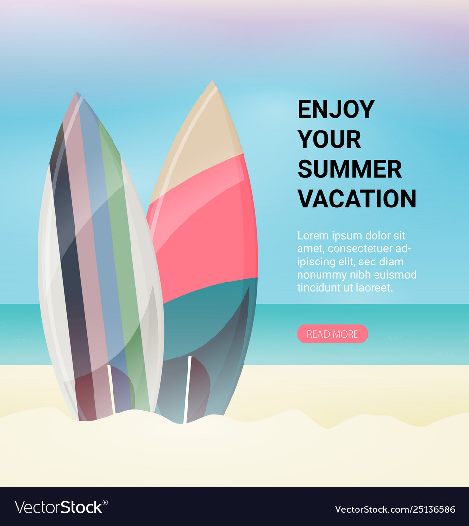 Surfboards on beach flat design style