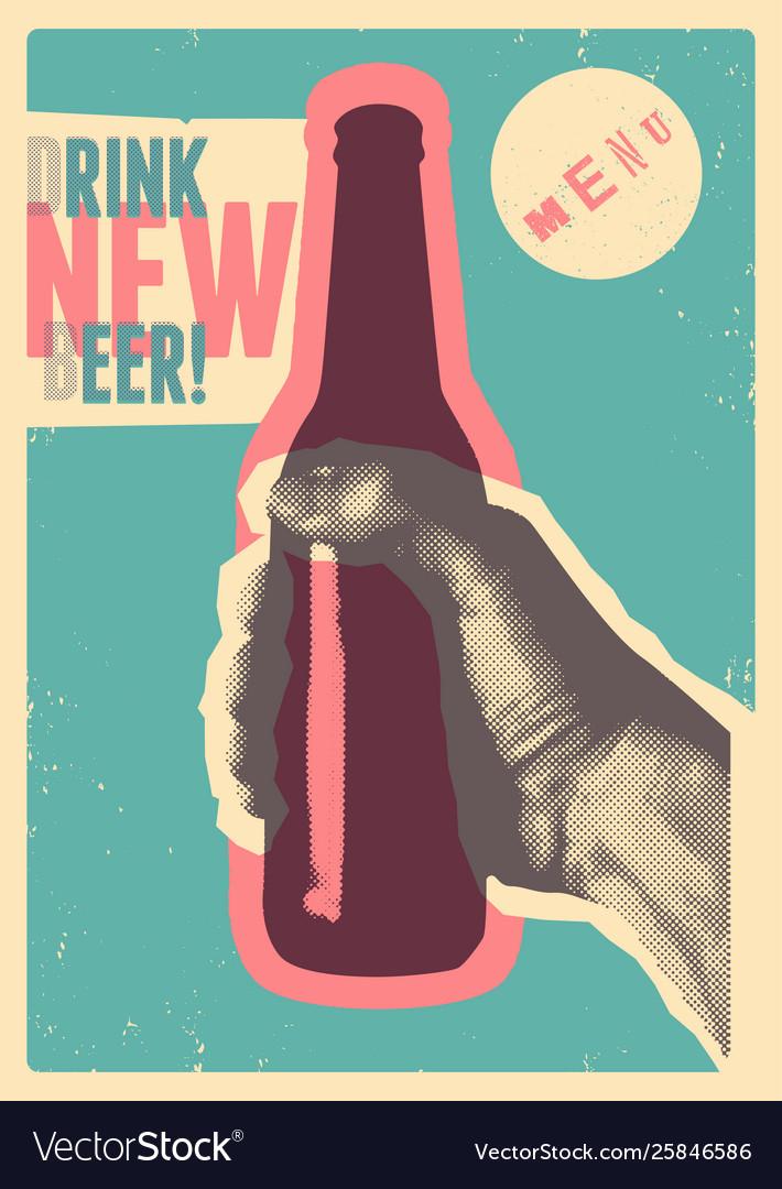 Typographic vintage grunge style beer poster