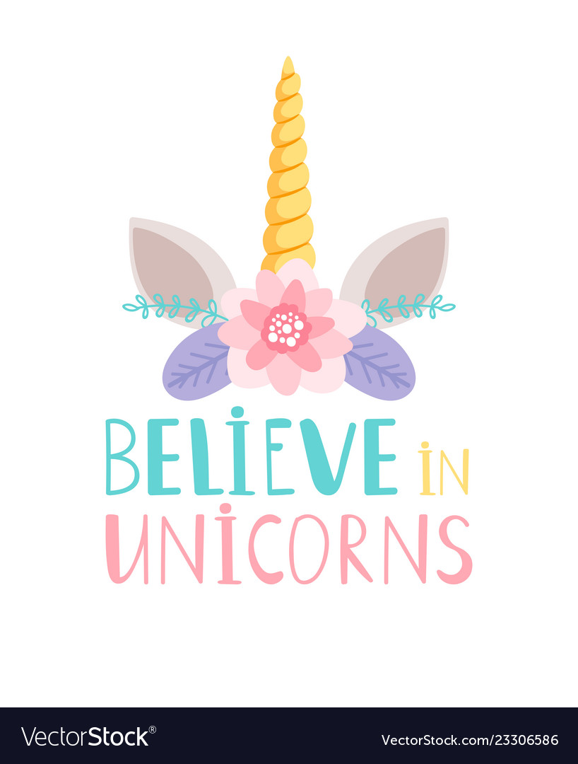 Unicorn horn and flowers poster