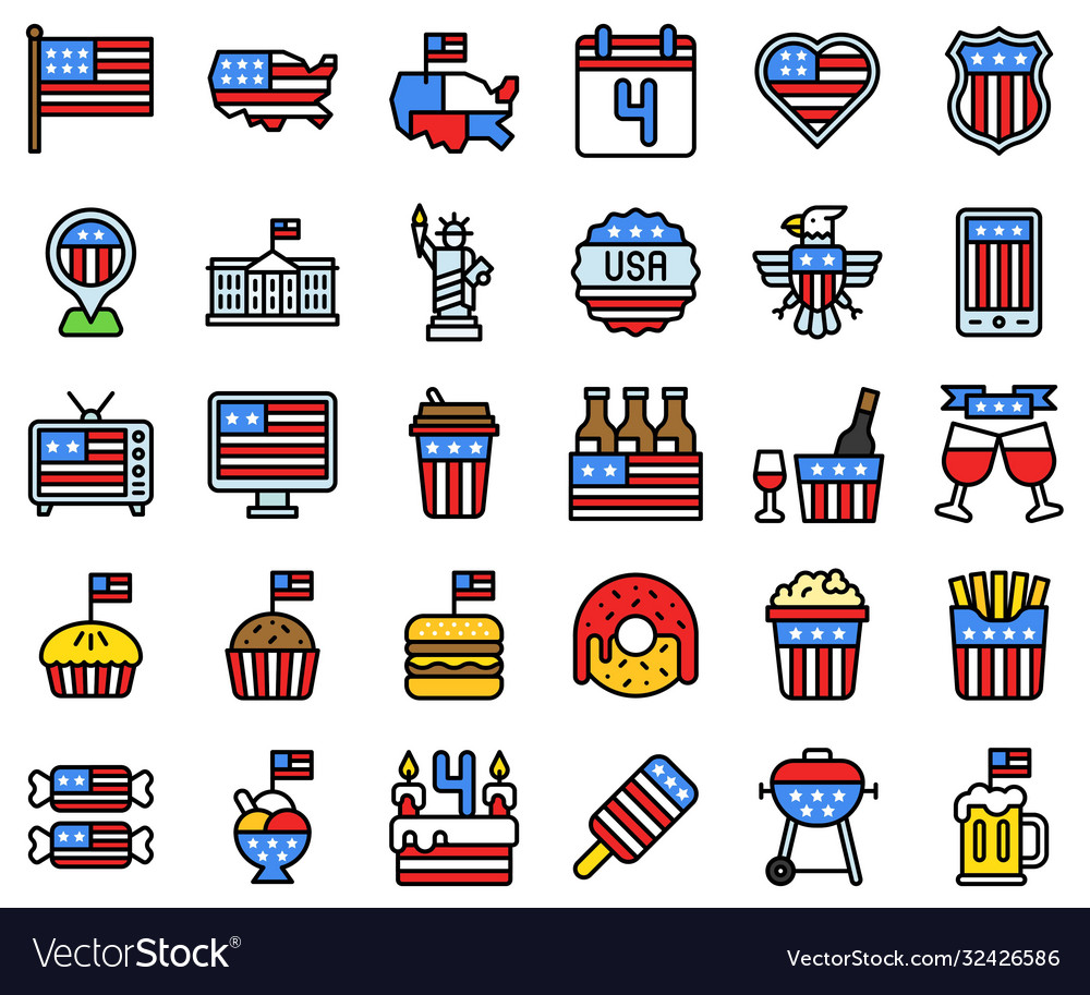 United state independence day filled icon set