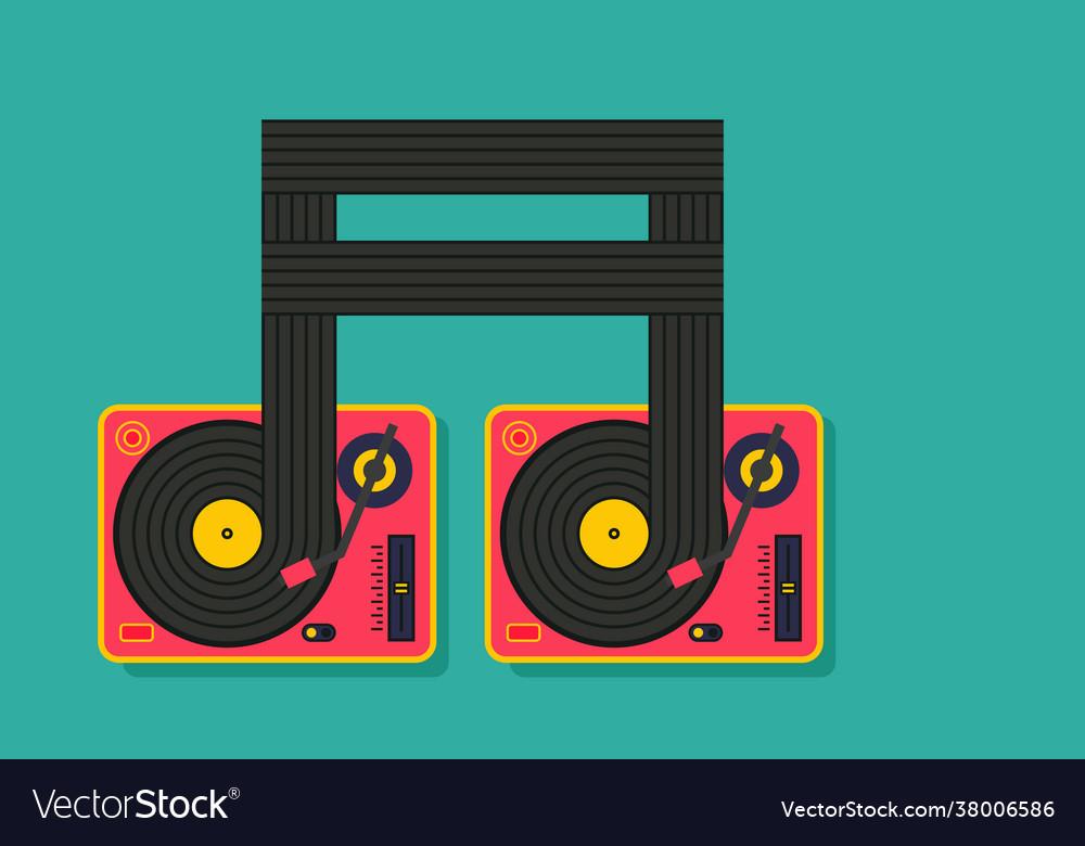 Vinyl player turntable icon dj music concept