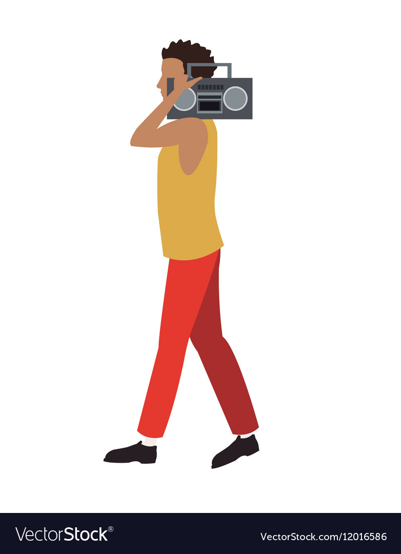 young man walk music radio player royalty free vector image vectorstock