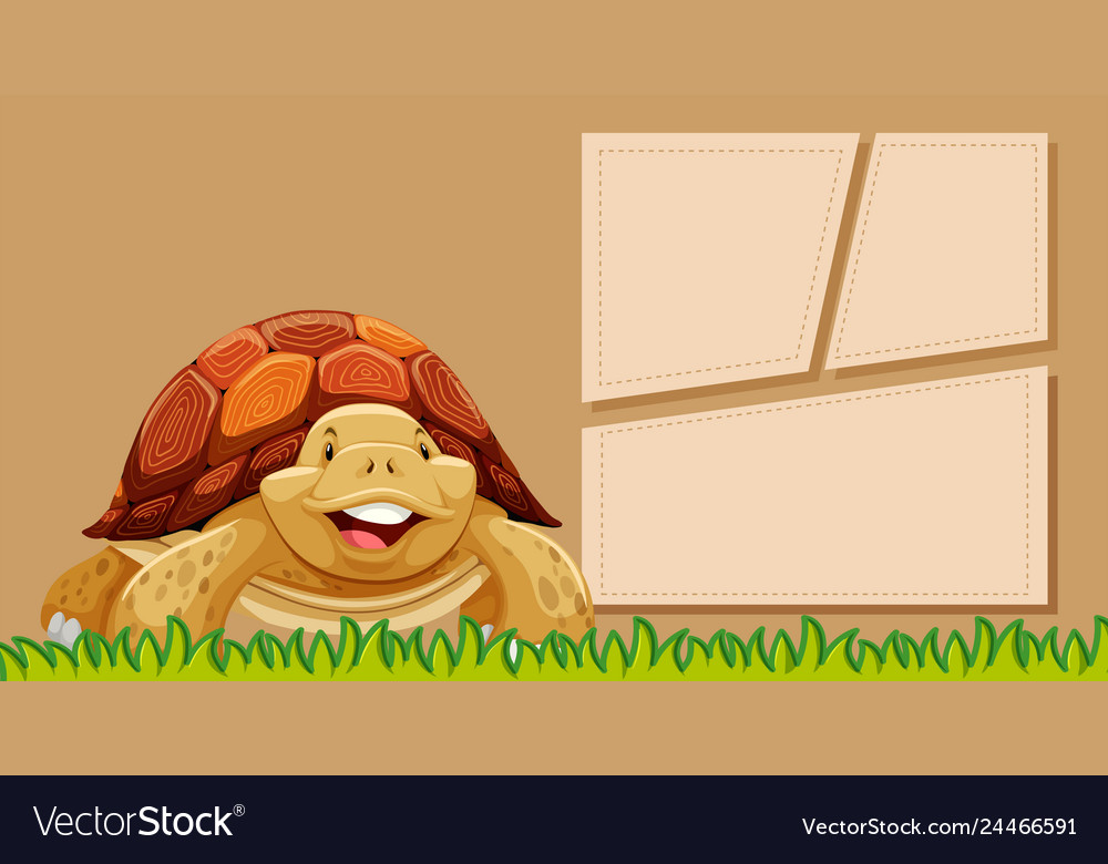A turtle on blank note