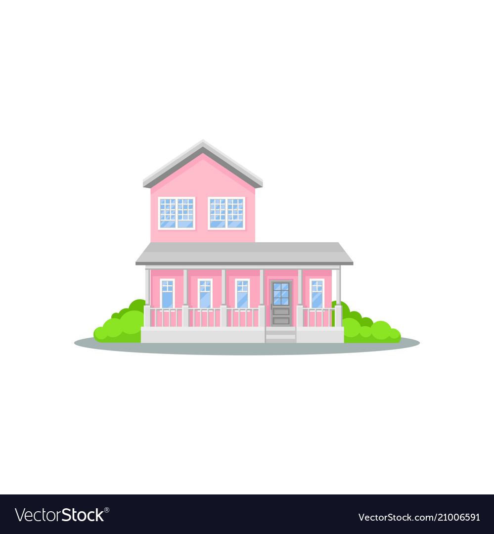 Charming two-storey pink house with terrace small